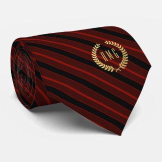 Minimal Framed Gold Monogram Red | Black Stripe Tie