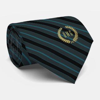 Minimal Framed Gold Monogram Teal | Black Stripe Tie
