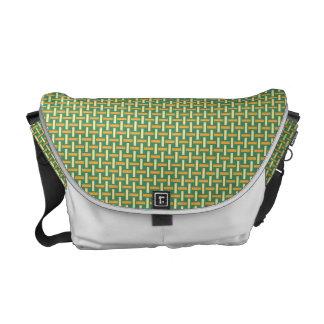 """Minimal Geometric Pattern - Japan """"Green Pastures"""" Messenger Bag"""