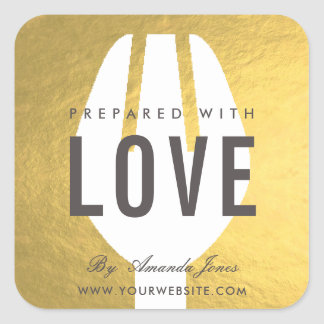 MINIMAL GOLD FAUX SPOON FORK PREPARED WITH LOVE SQUARE STICKER