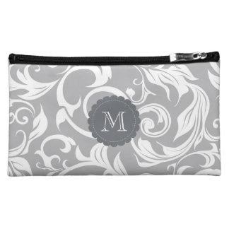 Minimal Gray Floral Scroll Monogram Makeup Bag