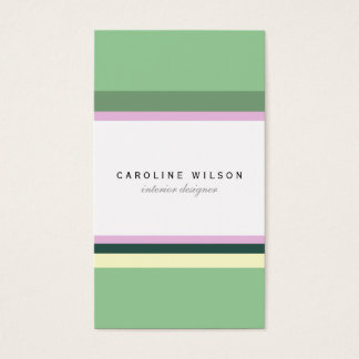 Minimal green pink lines colorful elegant classy business card