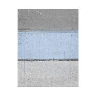 'Minimal' Grey and Blue Abstract Art Canvas Print