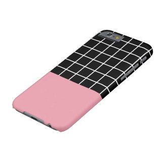 Minimal Grid B&W w/ Pink Color Block Barely There iPhone 6 Case