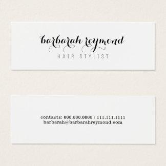 minimal hair stylist beauty professional white mini business card