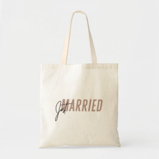 Minimal, hand lettered 'Just Married' Tote Bag
