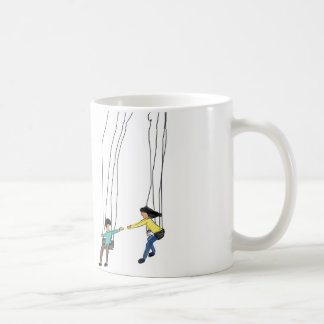 Minimal  illustration of couples in a swing coffee mug