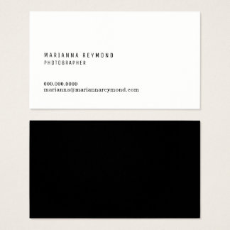 minimal introduction contact modern photographer business card