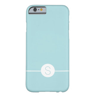 Minimal iOS 8 Style - Plain Aqua White Monogram Barely There iPhone 6 Case
