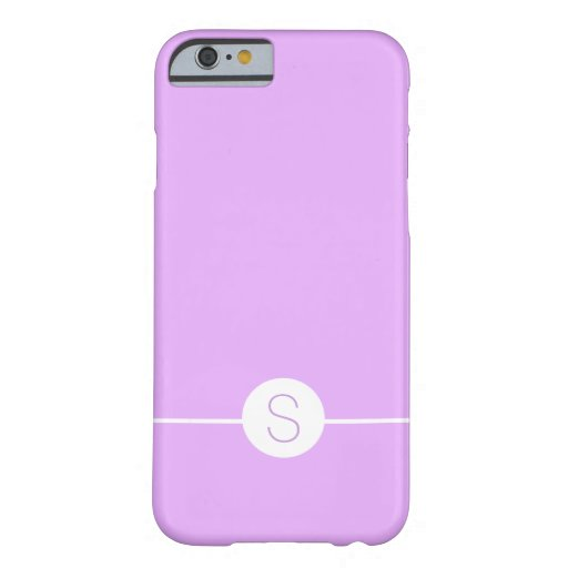 Minimal iOS 8 Style - Plain Purple White Monogram Barely There iPhone 6 Case