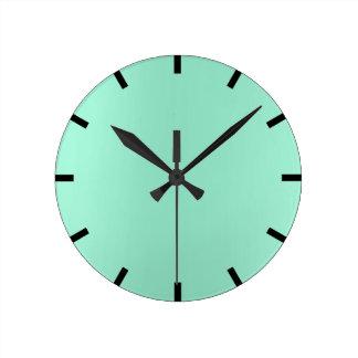 Minimal Lemon Mint Aqua Ombre Black Urban Round Clock