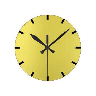Minimal Lemon Yellow Mustard Ombre Black Urban Round Clock