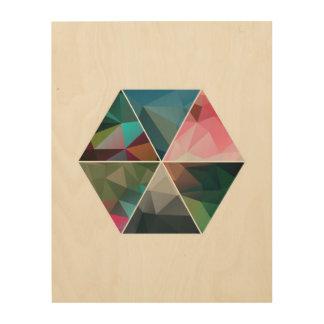 Minimal Low-Poly Hexagon Wood Wall Art