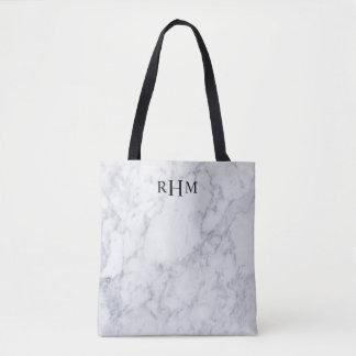 Minimal Marble Monogram Tote Bag