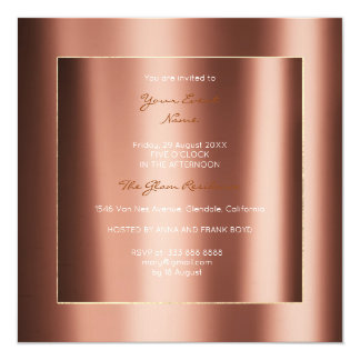 Minimal Metallic Geometry Gold Copper Bronze Event Card