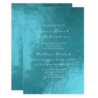 Minimal Metallic Tiffany Ocean Blue Aqua Glass Card