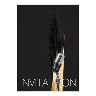 Minimal Microphone Concert Festival Party Glam Card