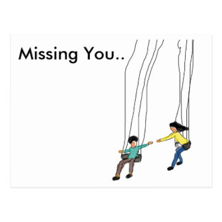Minimal Missing you postcard with illustrated art