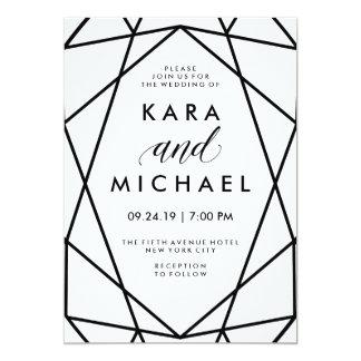 Minimal Modern Black and White Geometric Wedding 13 Cm X 18 Cm Invitation Card
