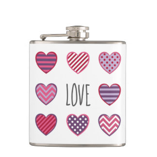 Minimal Modern Geometric Hearts Love Valentine Hip Flask