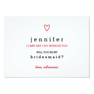 Minimal Modern Heart | Will You Be My Bridesmaid Card
