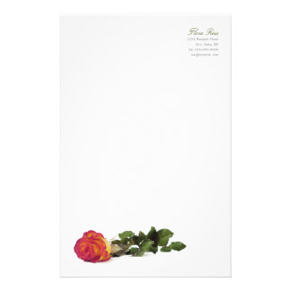 Minimal Modern Red Yellow Rose Personal Stationery
