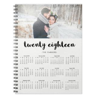 Minimal Modern Typography 2018 Photo Calendar Notebook