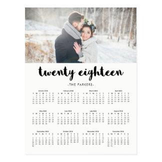 Minimal Modern Typography 2018 Photo Calendar Postcard