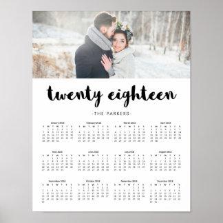 Minimal Modern Typography 2018 Photo Calendar Poster