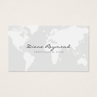 minimal modern, world map on very pale gray business card
