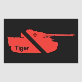 Minimal Panzerkampfwagen VI, red - black Rectangular Sticker