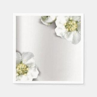 Minimal Pearly White Gray Silver Metallic Floral Disposable Napkin