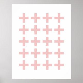 Minimal Pink Geometric Crosses Poster
