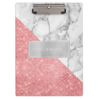 Minimal Pink Rose Gold Metallic Silver Gray Marble Clipboard