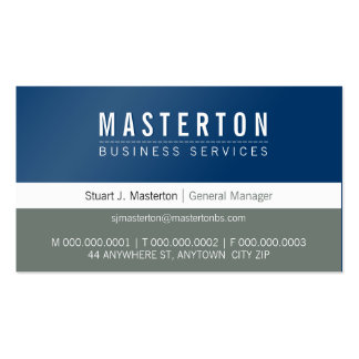 MINIMAL plain simple corporate royal blue grey Pack Of Standard Business Cards
