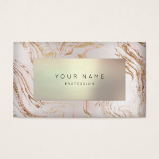 Minimal Rose Gold Marble Appointment Pearly 3D VIP Business Card