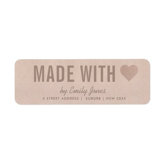 MINIMAL ROSE GOLD SHIMMER MADE WITH LOVE ADDRESS RETURN ADDRESS LABEL
