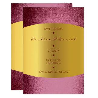 Minimal Save The Date Burgundy Bordeaux Gold 9 Cm X 13 Cm Invitation Card