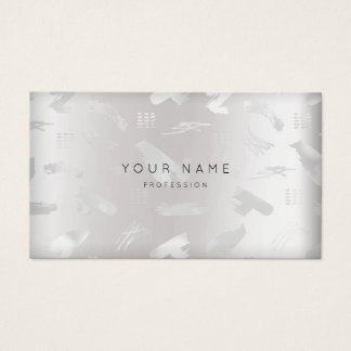 Minimal Silver Gray Blush-strokes Appointment Business Card