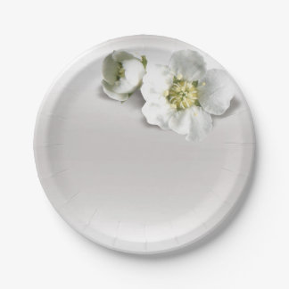 Minimal Silver Gray Pearly White Jasmine Floral Paper Plate