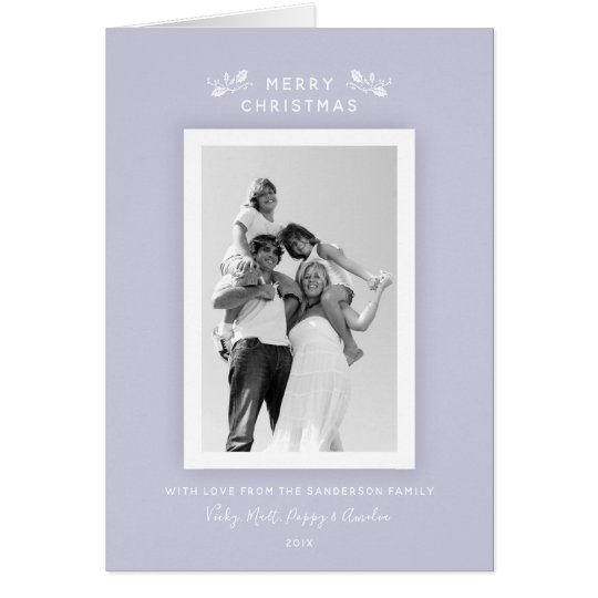 Minimal Soft Powder Purple + White Christmas Photo Card