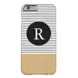 Minimal Stripes - FAUX glitter gold Monogram Barely There iPhone 6 Case