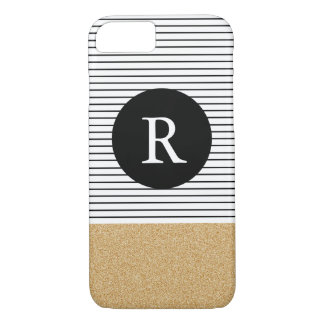 Minimal Stripes - FAUX glitter gold Monogram iPhone 7 Case