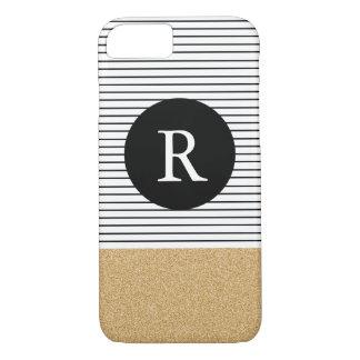 Minimal Stripes - FAUX glitter gold Monogram iPhone 8/7 Case