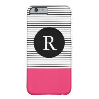 Minimal Stripes - pink Monogram Barely There iPhone 6 Case