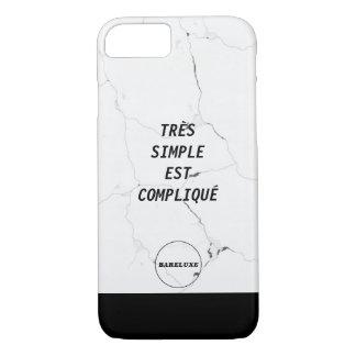 Minimal TRÈS SIMPLE EST COMPLIQUÉ Marble Text Logo iPhone 8/7 Case