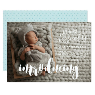 Minimal Typography | Birth Announcement Photo Card