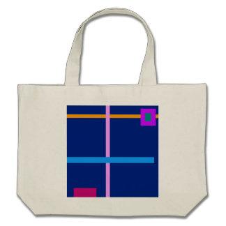 Minimal Vertical and Horizontal Lines Navy Canvas Bag