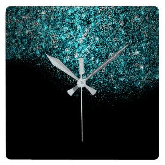 Minimal Vip Black Blue Sapphire Tiffany Turquoise Square Wall Clock