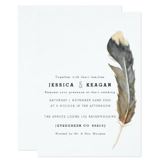Minimal Watercolor Feather Rehearsal Dinner Invite